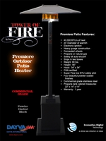 PATIO HEATERS and MISTERS PREMIER OUTDOOR PATIO HEATER-BLACK