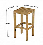 TEAK FURNITURE-MATS-TILES Teak BarStool, Box of 2 Stools